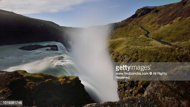 GULLFOSS WATERFALL AT NIGHT, ICELAND