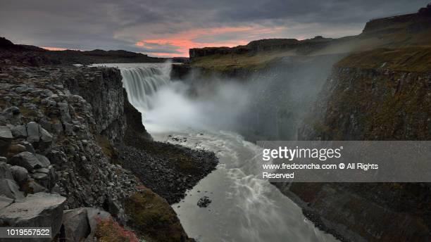SUNSET AT DETIFOSS WATERFALL, ICELAND