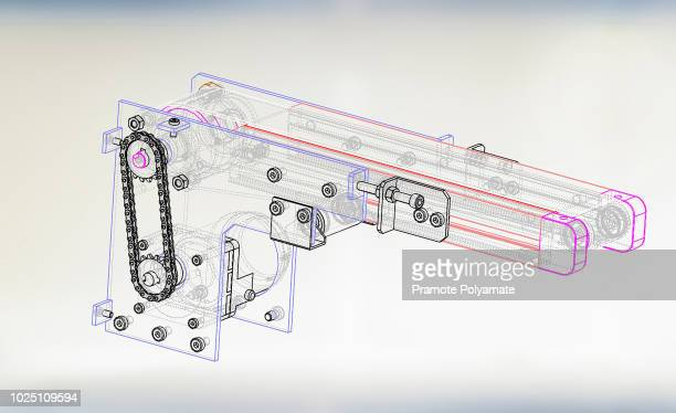 3d mini belt conveyor in factory. - isometric projection stock photos and pictures