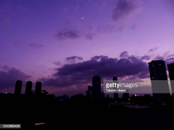 タイ王国、バンコクの紫色に染まった夕暮れの街並み