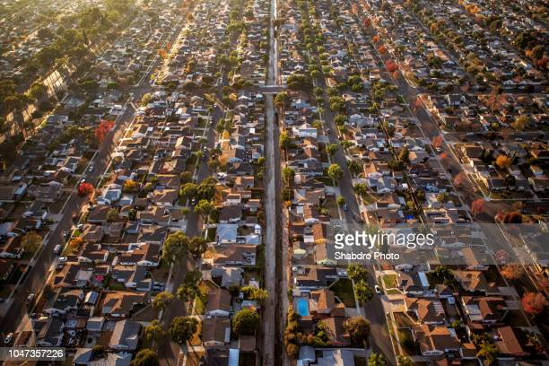 aerial neighborhood 2 - urban sprawl stock pictures, royalty-free photos & images