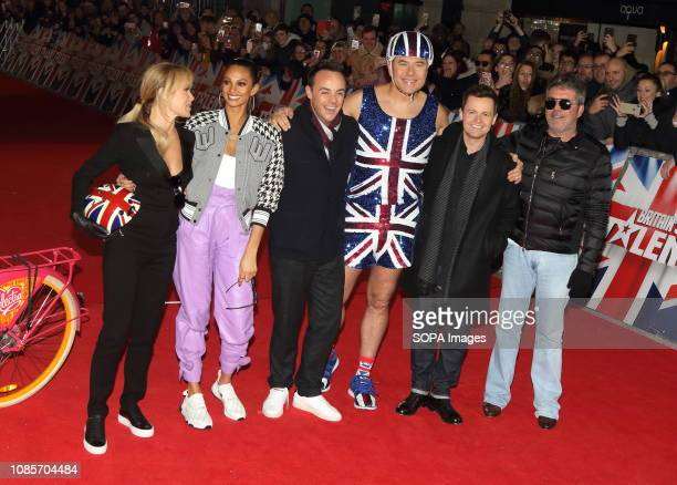 Judges and hosts Amanda Holden Alesha Dixon Anthony McPartlin David Walliams Declan Donnelly and Simon Cowell are seen at the London Palladium for...
