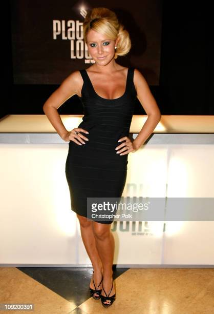 Singer Aubrey O'Day attends the Hollywood launch of PlatinumLounge.com at The Globe Theatre on July 7, 2007 in Los Angeles California.