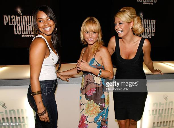 Actress Lauren London , actress Taryn Manning and singer Aubrey O'Day attend the Hollywood launch of PlatinumLounge.com at The Globe Theatre on July...