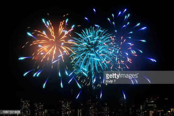 hanabi 14 - fireworks stock pictures, royalty-free photos & images