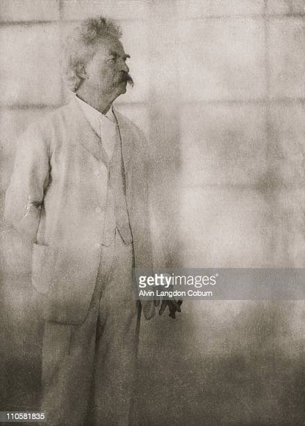 American writer and humourist Mark Twain at Stormfield his home in Redding Connecticut 21st December 1908 Photogravure from 'Men of Mark' published...