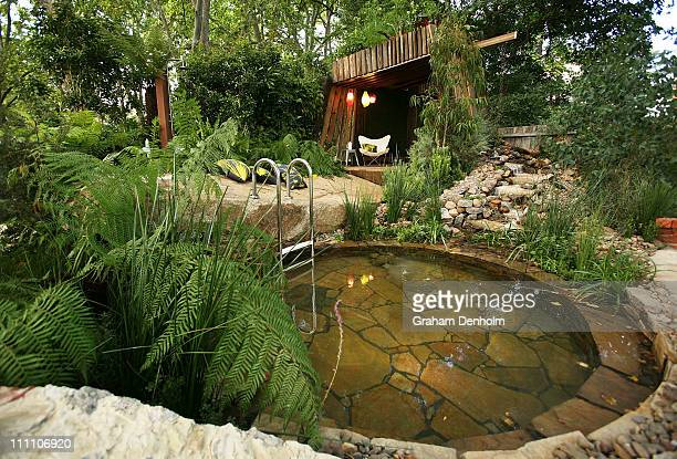 Bronze medal winning show garden by Phillip Johnson Landscapes entitled 'Bathe' is seen at the Melbourne International Flower and Garden Show at...