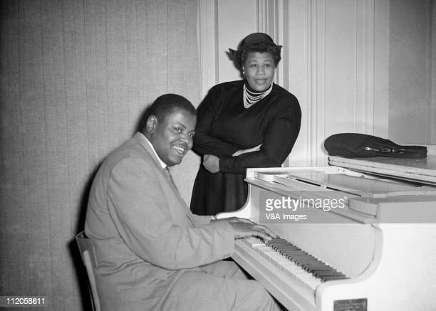 Oscar Peterson and Ella Fitzgerald posed 1954