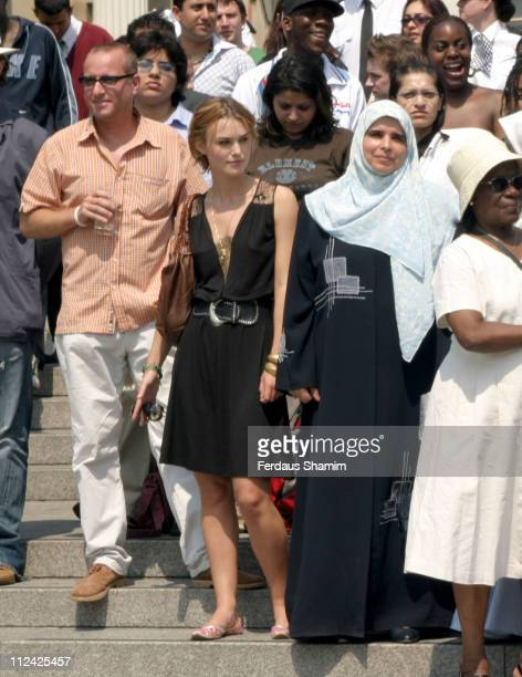 Keira Knightley and guests stand in Trafalgar Square for two minutes of silence in tribute to the victims of the 7/7 terrorist bombings in London...
