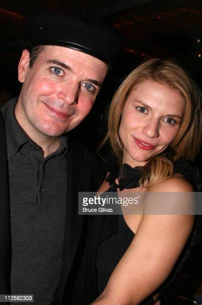 """Jefferson Mays and Claire Danes pose at The Opening Night Party for The Revival of """"Pygmalion"""" on Broadway at The Marriott Marquis Hotel on October..."""