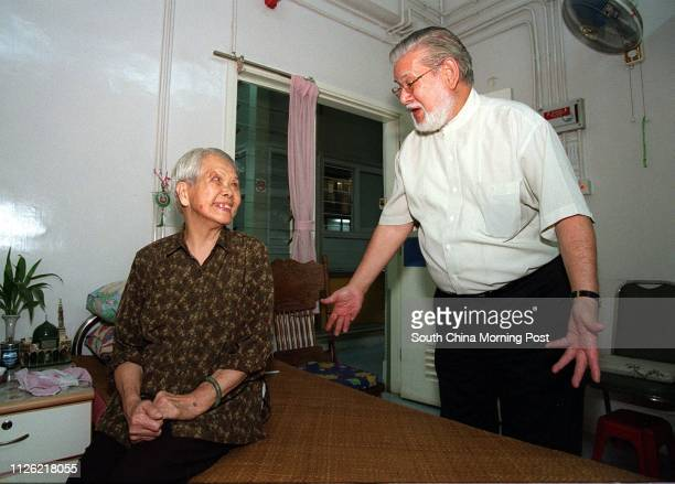 CHAIRMAN OF UNITED MUSLIM ASSOCIATION OF HONG KONG CHATS WITH AMINA WONG A LOCAL CHINESE MUSLIM AND ONE OF THE OCCUPANTS OF THE HOME FOR THE ELDERLY...