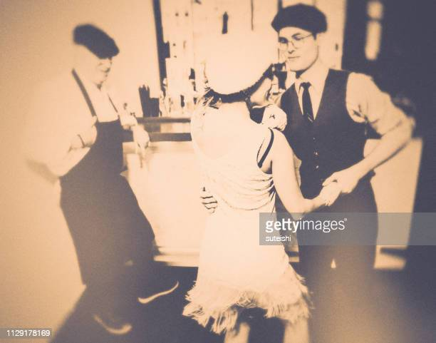 dance the charleston!!! - roaring 20s party stock photos and pictures