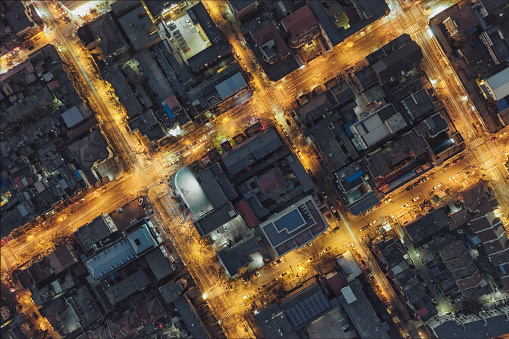 DIRECTLY ABOVE VIEW OF RESIDENTIAL DISTRICT - gettyimageskorea