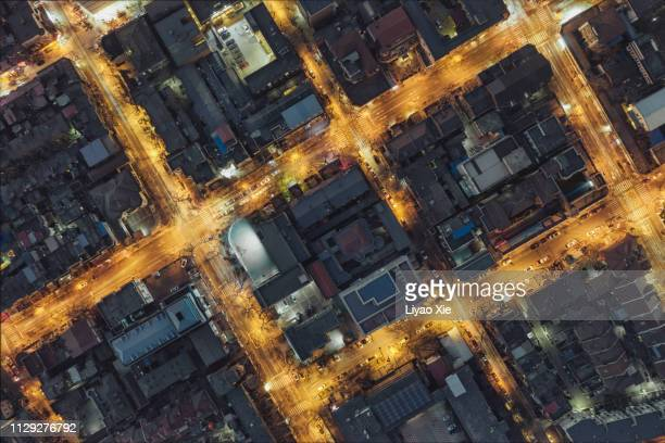 directly above view of residential district - liyao xie stock pictures, royalty-free photos & images