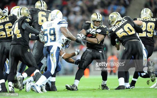 NFL. NEW ORLEANS SAINTS V SAN DIEGO CHARGES AT WEMBLY. . SAINTS NO 23 PIERRE THOMAS WITH BALL.