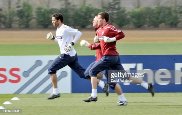 ENGLAND FOOTBALL TEAM TRAINING AT LONDON COLNEY. 24/3/09. MARK JAMES, RICHARD GREEN AND BEN FOSTER.