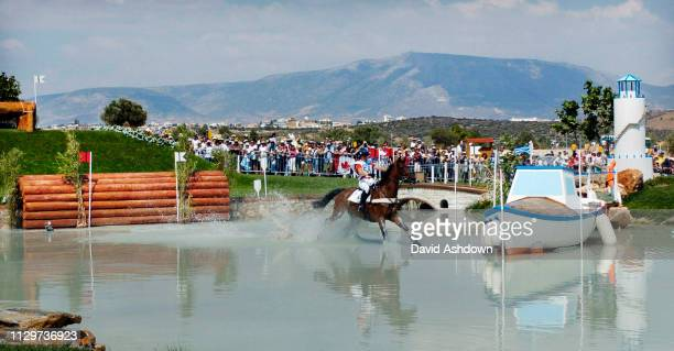 OLYMPIC GAMES IN ATHENS 2004. 17/8/2004 EVENTING CROSS COUNTRY AT THE EQUESTRAIN CENTRE PHILIPPA FUNNELL ON PRIMMORE'S PRIDE AT THE WATER.,.