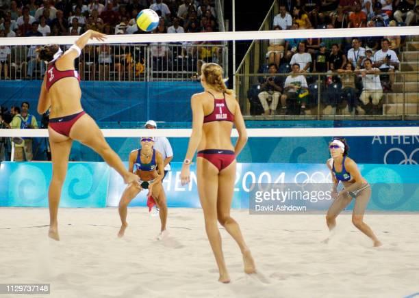 OLYMPIC GAMES IN ATHENS 2004. 24/8/2004 BEACH VOLLEYBALL WOMAN'S FINAL USA V BRAZIL. USA 1 KERRI WALSH NO 2 MISTY MAY BRAZIL NO 1 ADRIANA BEHAR NO 2...