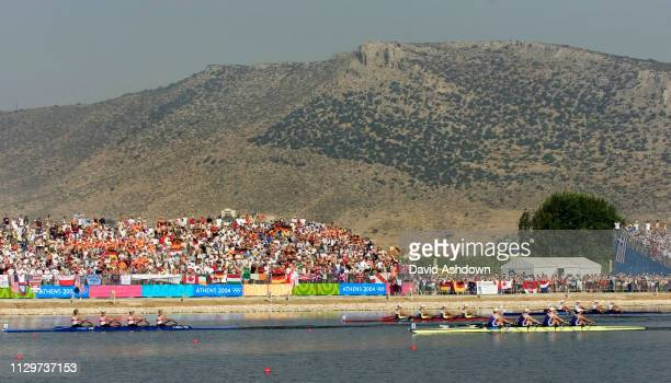 OLYMPIC GAMES IN ATHENS 2004. 21/8/2004 WOMAN'S QUAD SCULLS FINAL A. STROKE REBECCA ROMERO, FRANCES HOUGHTON, DEBBIE FLOOD, AND ALISON MOWBRAY WIN...