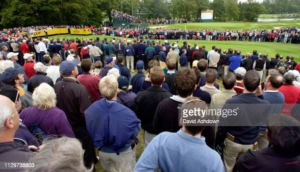 RYDER CUP 2002 AT THE BELFRY FOURBALL WOODS ON THE 8TH TEE 27/9/2002.