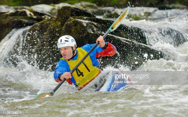 DIVISION 2 RACE DURING THE PAN CELTIC CANOE SLALOM WEEKEND AT GRANDTULLY SCOTLAND. CRAIG DOUGLAS FROM ADERDEEN KAYAK CLUB CLUB IN A KAYAK 27/3/2005.