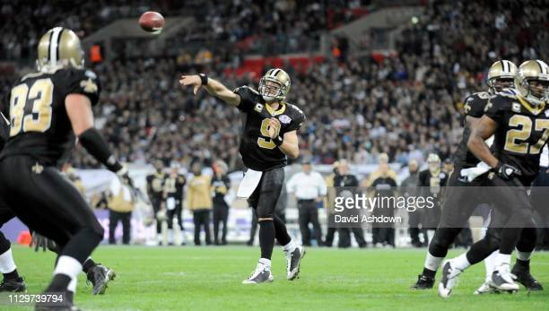 NFL. NEW ORLEANS SAINTS V SAN DIEGO CHARGES AT WEMBLY. . QB DREW BREES.