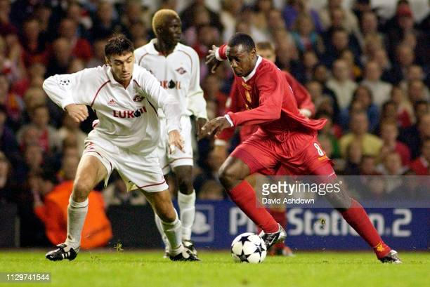 CHAMPIONS LEAGUE LIVERPOOL V FC SPARTAK MOSKVA 2/10/2002 HESKEY AND KOVTUN.