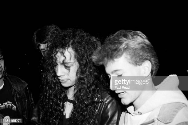 Kirk Hammett of Metallica with Sean O'Neil while meeting fans at the Capital Centre in Landover, MD on March 9, 1989.