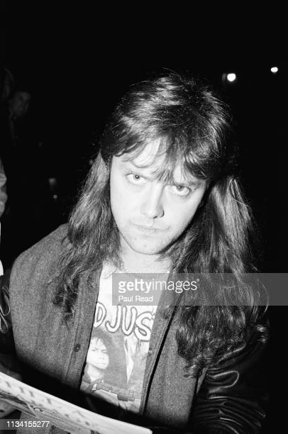 Lars Ulrich of Metallica looks grim before signing a magazine while meeting fans at the Capital Centre in Landover MD on March 9 1989