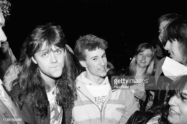 Lars Ulrich of Metallica with Sean O'Neil and fans at the Capital Centre in Landover, MD on March 9, 1989.