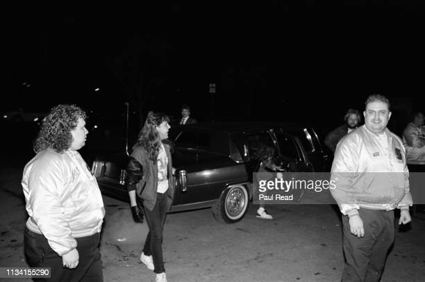 Lars Ulrich and Jason Newsted of Metallica exit a limo to meet fans at the Capital Centre in Landover, MD on March 9, 1989.