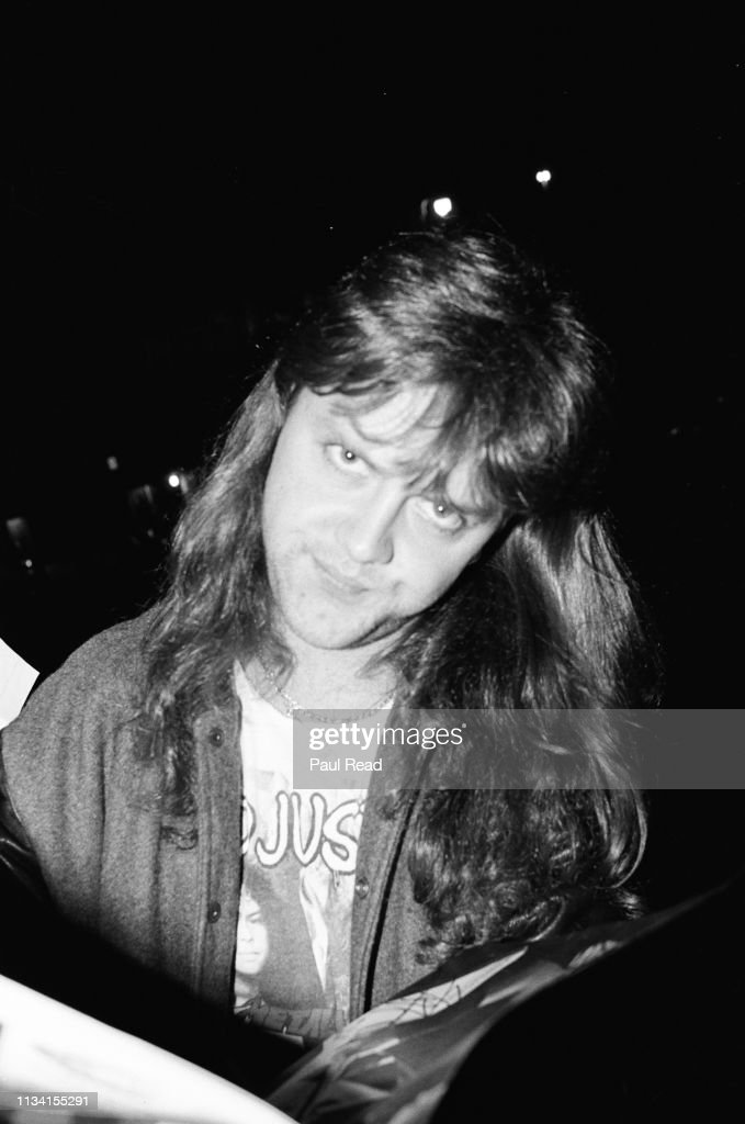 LANDOVER, MD - MARCH 9:  Lars Ulrich of Metallica smirks before signing a magazine while meeting fans at the Capital Centre in Landover, MD on March 9, 1989.  (Photo by Paul Read/Getty Images) : News Photo