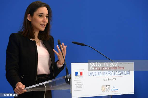 French Secretary of State to the Minister for the Ecological and Inclusive Transition Brune Poirson presents France's pavilion which will represent...