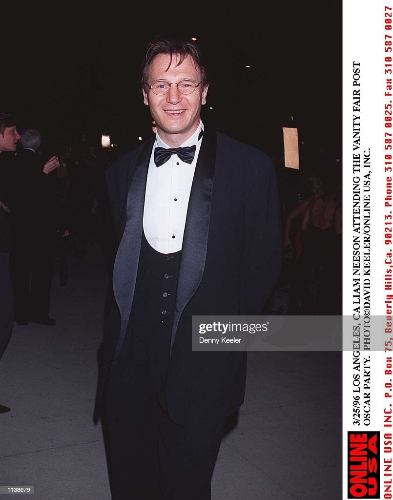3/25/96 LOS ANGELES, CA LIAM NEESON ATTENDING THE VANITY FAIR POST OSCAR PARTY. : News Photo