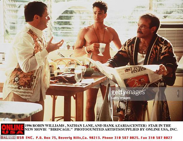 1996 ROBIN WILLIAMS AND NATHAN LANE AND HANK AZARIA STAR THE THE NEW MOVIE BIRDCAGE