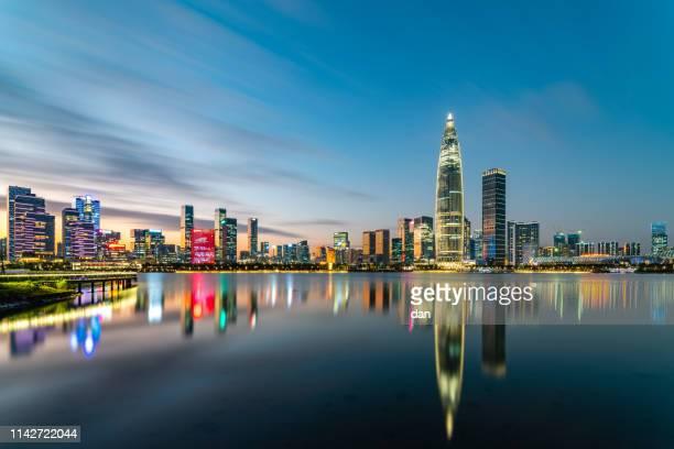 深圳夜景 - shenzhen stock pictures, royalty-free photos & images