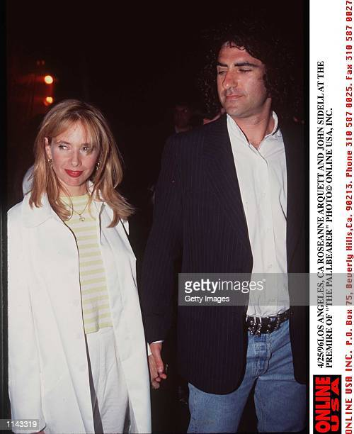 4/24/96 LOS ANGELES CA ROSEANNE ARQUETTE AND JOHN SIDELL AT THE PREMIRE OF THE PALLBEARER