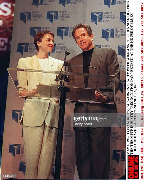 MAY 1 1996 LOS ANGELES CA WARREN BEATTY AND ANNETTE BENING HOSTS THE MOTION PICTURE TELEVISION FUND 'INDUSTRY RECOGNITION DAY' BENEFIT AT THE HOUSE...