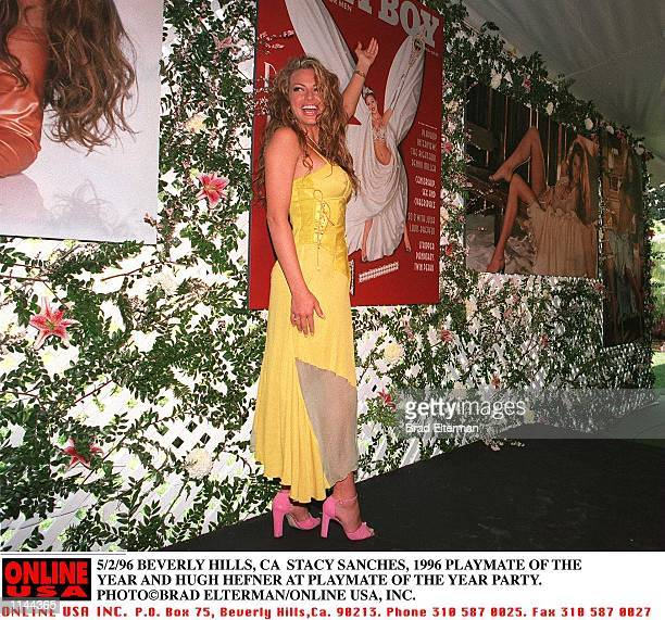 5/2/96 BEVERLY HILLS CA STACY SANCHES 1996 PLAYMATE OF THE YEAR AND HUGH HEFNER