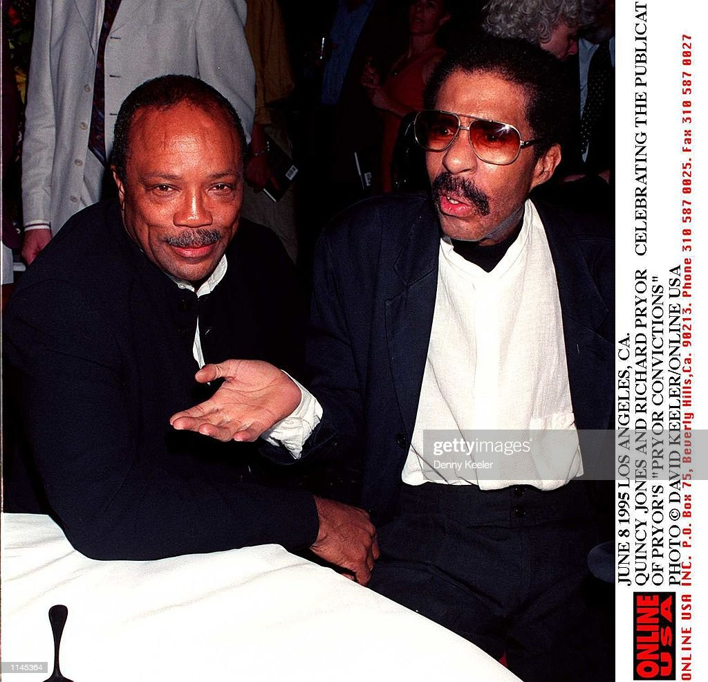 JUNE 1995. QUINCY JONES AND RICHARD PRYOR CELEBRATING THE PUBLICATION OF 'PRYOR CONVICTIONS'