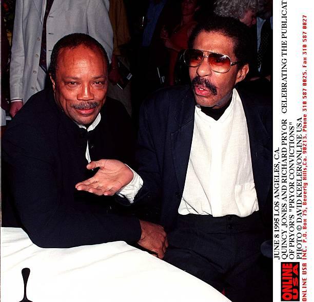 JUNE 1995. QUINCY JONES AND RICHARD PRYOR CELEBRATING THE PUBLICATION OF 'PRYOR CONVICTIONS'