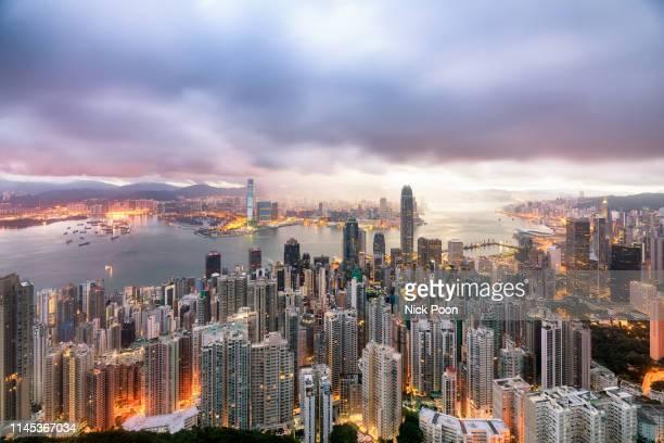 香港城市風景 - central stock pictures, royalty-free photos & images