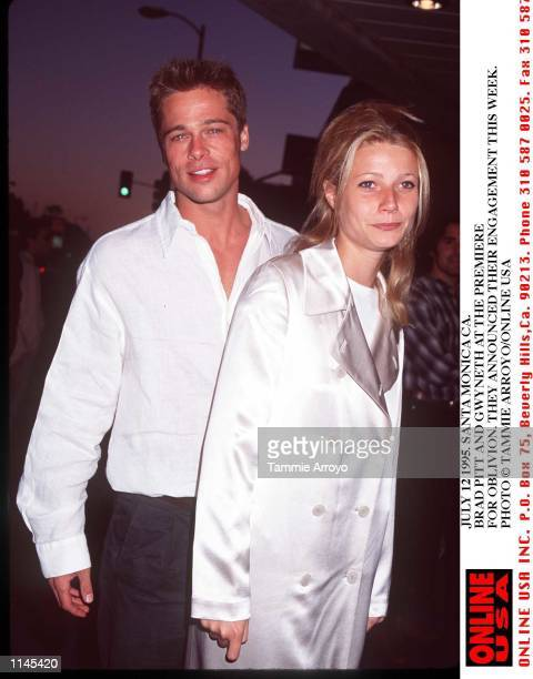 8/8/95 LOS ANGELESCA BRAD PITT AND GWYNETH AT THE PREMIERE FOR OBLIVION THEY ANNOUCED THEIR ENGAGEMENT THIS WEEK