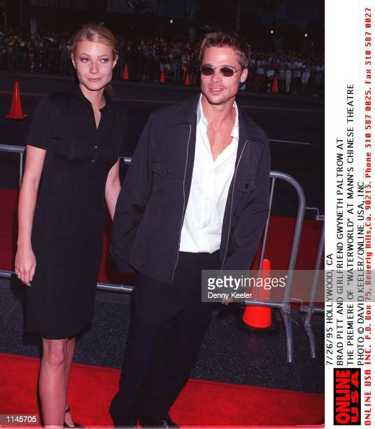 7/26/95 HOLLYWOOD CA BRAD PITT AND GIRLFRIEND GWYNETH PALTROW AT THE PREMIERE OF WATER WORLD