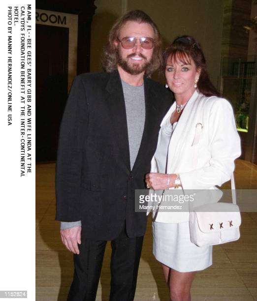 MIAMI FLBEE GEES'' BARRY GIBB AND WIFE LINDA AT CALYDYS FOUNDATION BENEFIT AT THE INTERCONTINENTALHOTEL