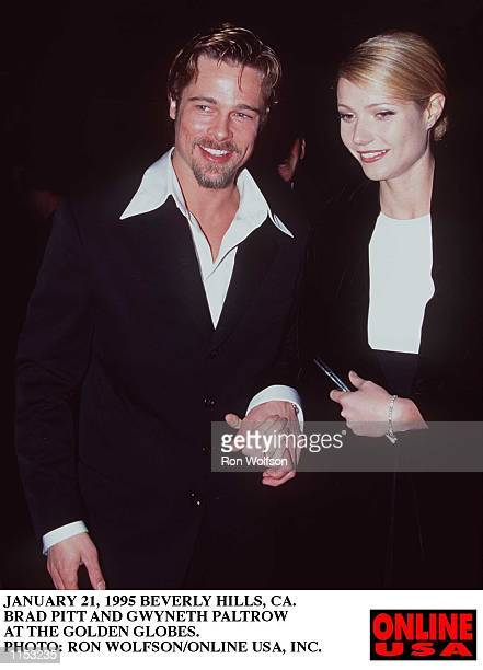 JANUARY 21 1996BEVERLY HILLS CA BRAD PITT AND GWYNETH PALTROW ARRIVE AT THE GOLDEN GLOBE AWARDS AT THE BEVERLY HILTON HOTEL