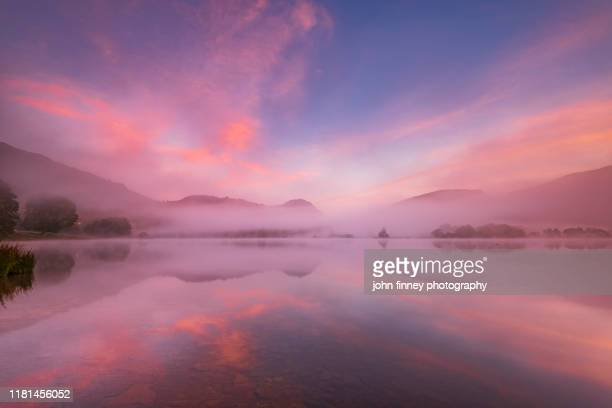 lake district - grasmere - lake - sunrise - mist - weather - uk - pink stock pictures, royalty-free photos & images