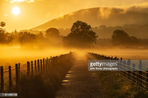 keswick - mist - weather - golden light - sunrise - lake district - uk - morning stock pictures, royalty-free photos & images