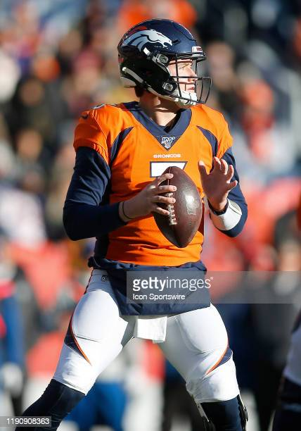 Denver Broncos Quarterback Drew Lock waits to pass during a regular season game between the Denver Broncos and the visiting Oakland Raiders on...