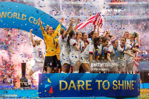 Women's national team celebrating with trophy after the 2019 FIFA Women's World Cup Final match between The United States of America and The...